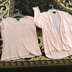 Blouse with cap sleeves & cardigan EUC